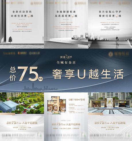 房地产产品项目介绍三宫格微单海报-源文件