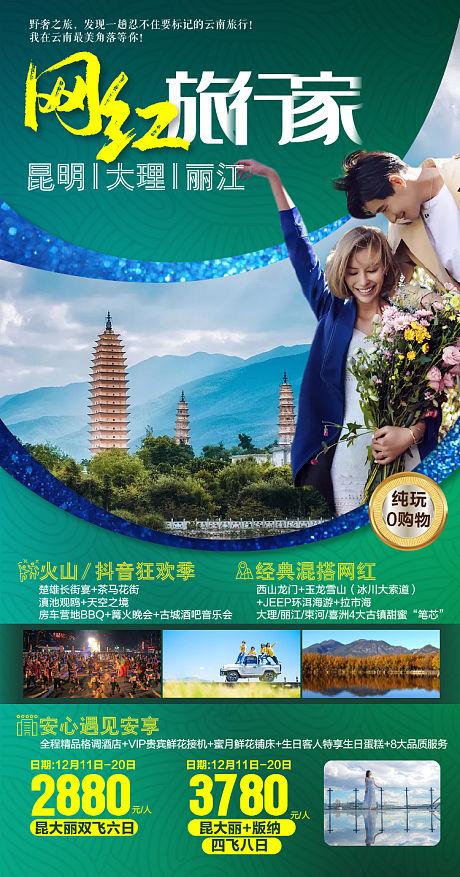 云南旅行旅游海报-源文件
