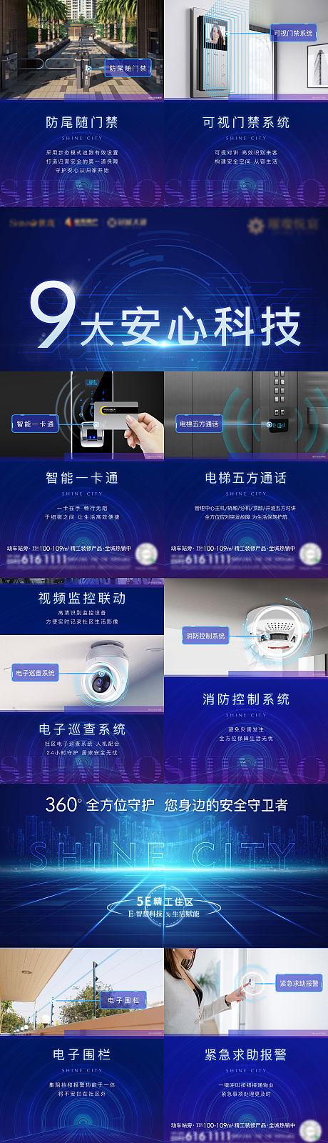 房地产智能化科技四宫格海报-源文件