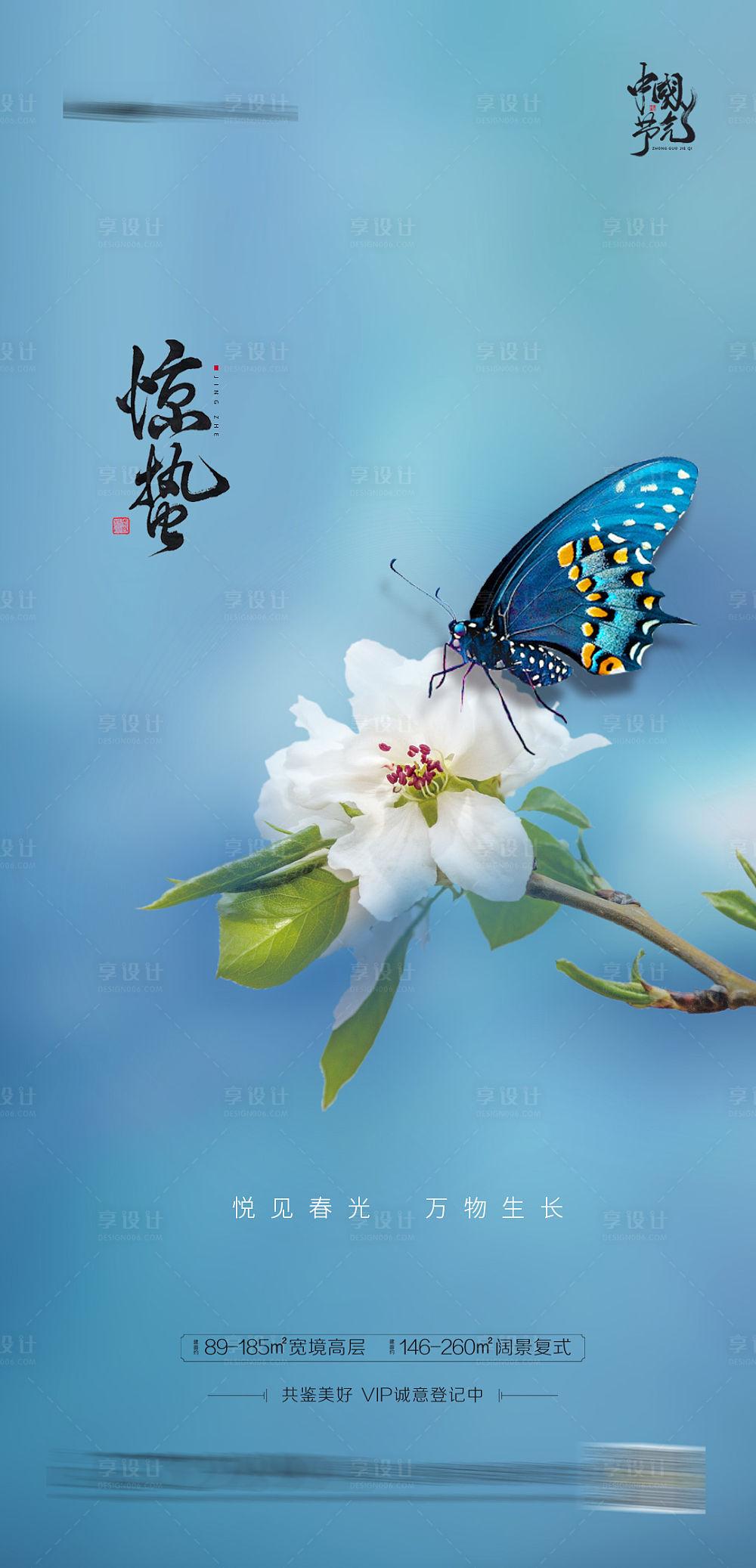 【源文件下载】 海报 地产 二十四节气 惊蛰 氛围 简约 精致 蝴蝶 花朵 设计作品 设计图集