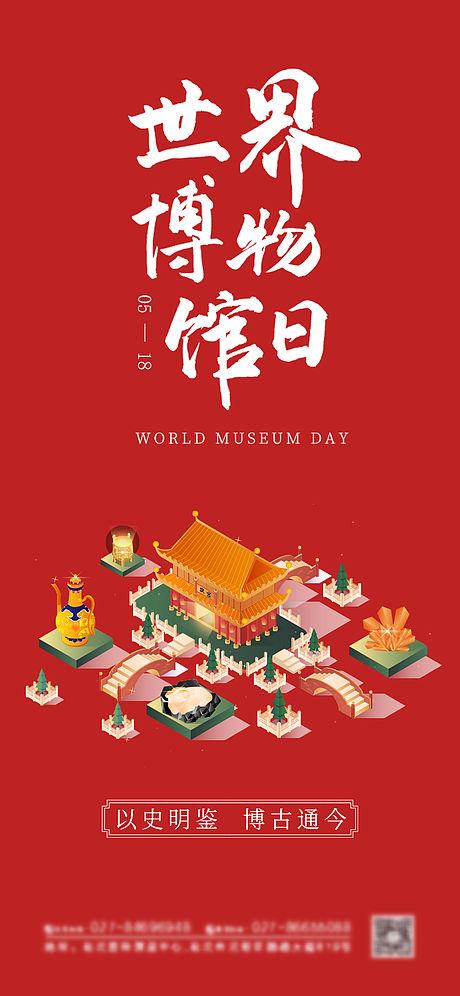 红色复古世界博物馆日海报